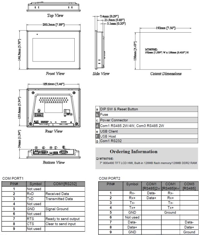MT6070iE Dimensions