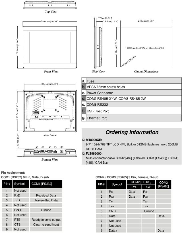 Dimensions MT8090XE