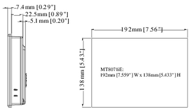 MT8071iE Dimensions 1