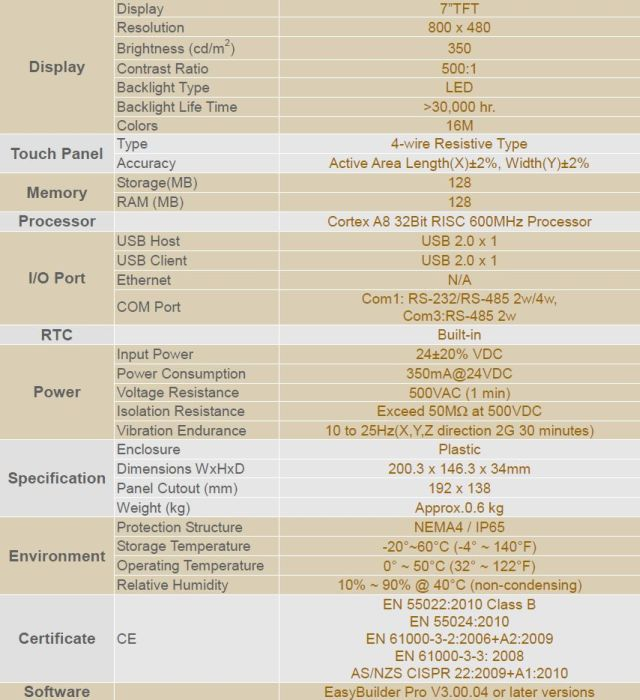 MT6070iE Specifications
